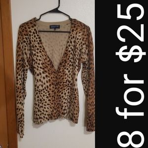 Jones New York cheetah cardigan